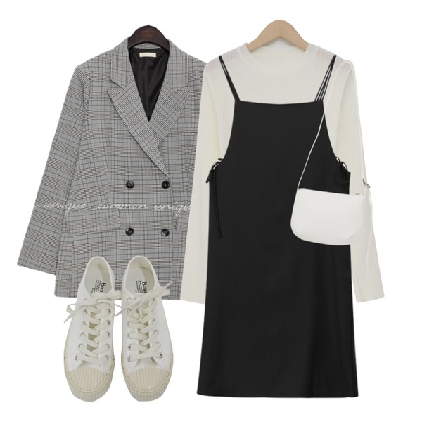 From Beginning Adorable slim golgi knit_B (size : free),MIXXMIX 더블 끈 원피스,common unique [OUTER] MADRE CHECK DOUBLE JACKET등을 매치한 코디