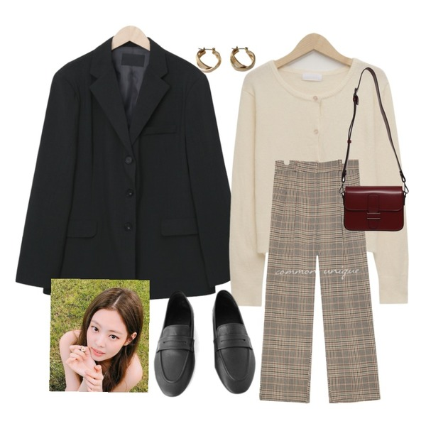 lavenir space earring,From Beginning Jade single boxy jacket_J (size : free),From Beginning Sand soft crop cardigan_U (size : free)등을 매치한 코디
