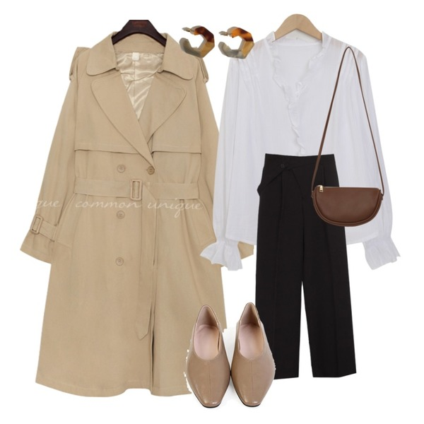common unique [OUTER] LAWREN RAGLAN BELT TRENCH COAT,From Beginning Morning lace button blouse_J (size : free),biznshoe Unbalance slacks (2colors)등을 매치한 코디