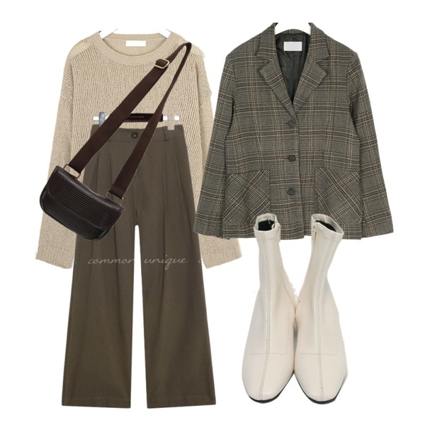 common unique CLODY BANDING COTTON WIDE PANTS,AIN london mood check jacket,AIN mojave buckle knit등을 매치한 코디