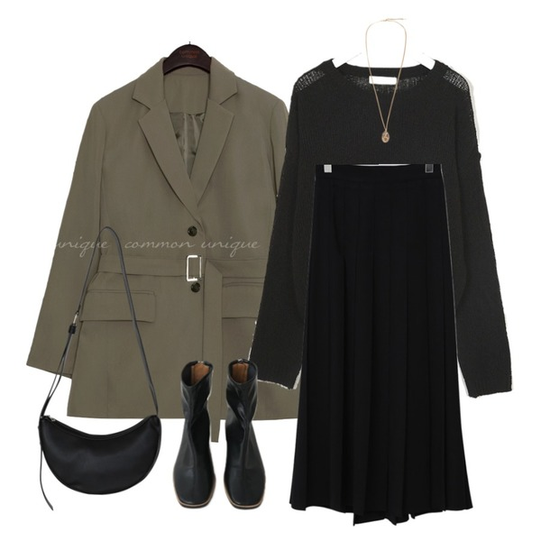 common unique [OUTER] LOOSA BELT TAILORED JACKET,From Beginning Vivier pleats long skirt (size : free),AIN mojave buckle knit등을 매치한 코디