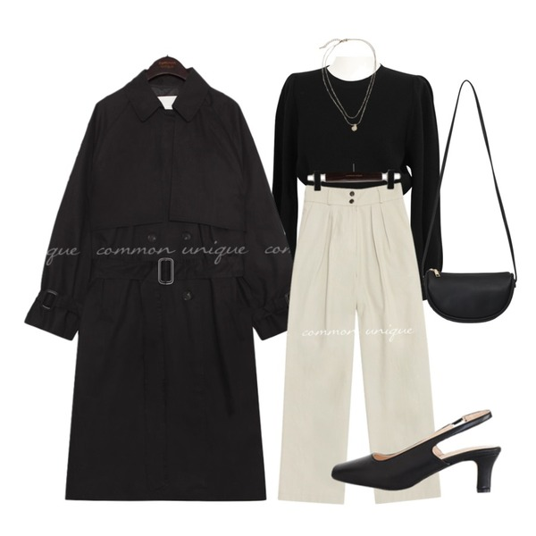 AWAB 베로아로퍼프니트,common unique ROTER PINTUCK COTTON WIDE PANTS,common unique FLOYD DOUBLE BELT TRENCH COAT등을 매치한 코디
