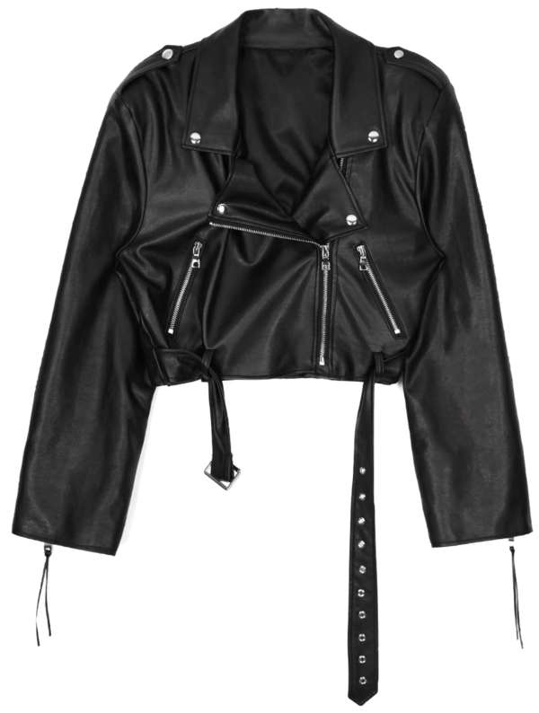 ACIDITY - LEATHER CROP RIDER JACKET (BLACK)