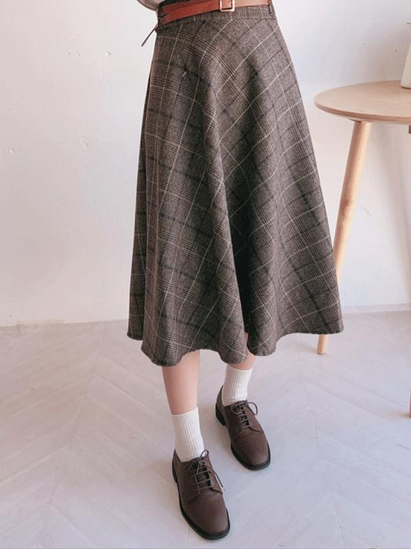 Tetersol Check Long Skirt