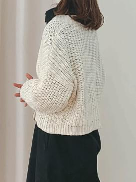 Cropped knit knit cardigan