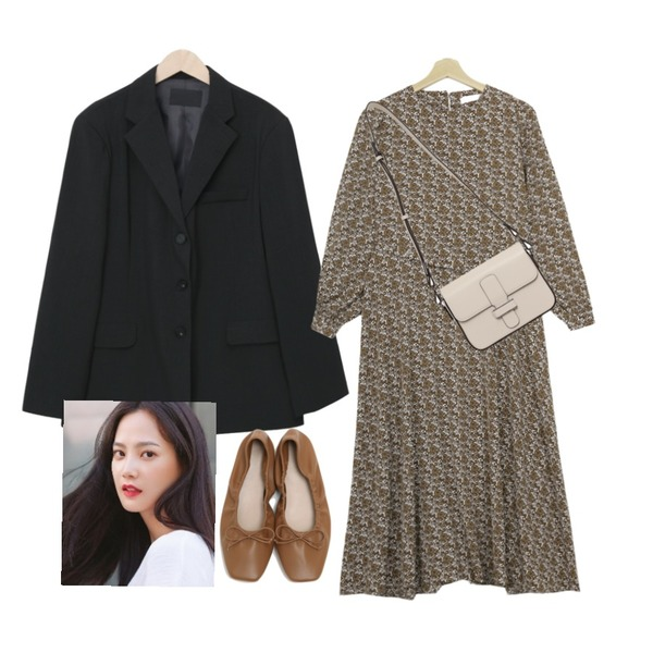 From Beginning Jade single boxy jacket_J (size : free),From Beginning Able belt strap cross bag_C (size : one),Zemma World 런던플라워 롱원피스등을 매치한 코디
