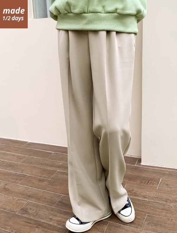1/2 day pants # 134 wide pintuck banding slacks
