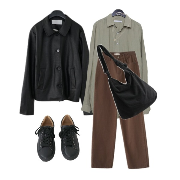 daily monday Linen boxy shirts,AFTERMONDAY twill texture straight fit pants (4colors),AFTERMONDAY collar leather jacket (2colors)등을 매치한 코디