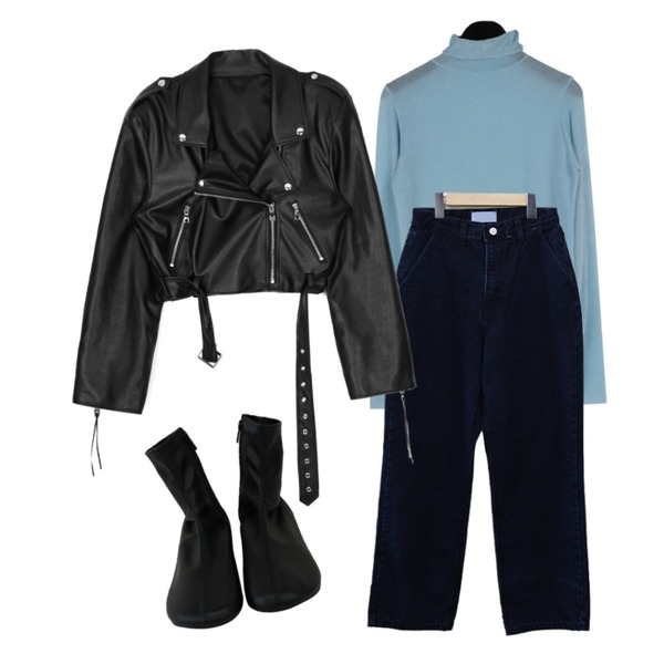 daily monday See-through turtle tee,openthedoor ACIDITY - LEATHER CROP RIDER JACKET (BLACK),BITDA 웨스티 pants (2color)등을 매치한 코디