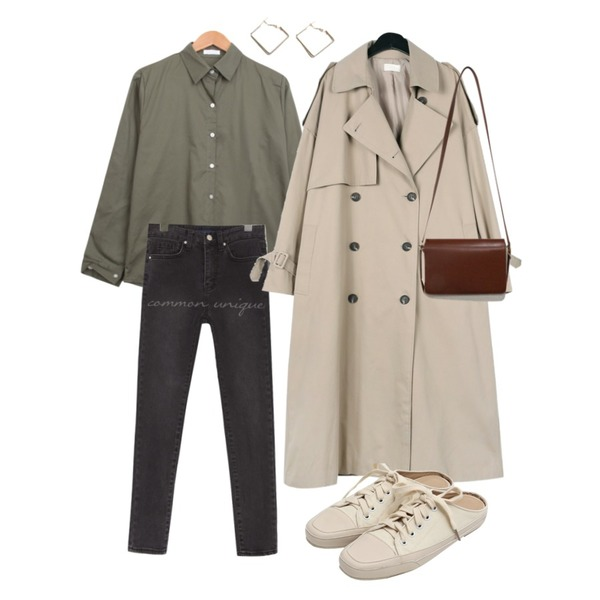 daily monday Over casual trench coat,common unique CORNER NAPPING SLIM DENIM SKINNY,BULLANG GIRL 타밍베이직NB등을 매치한 코디