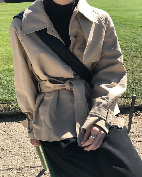 belted half trench coat