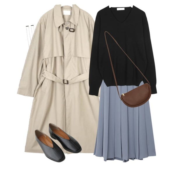 From Beginning Vivier pleats long skirt (size : free),AIN butter single trench coat,AIN a gili v-neck knit등을 매치한 코디