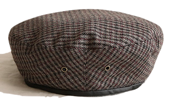 CLASSIC LEATHER LINE CHECK BERET