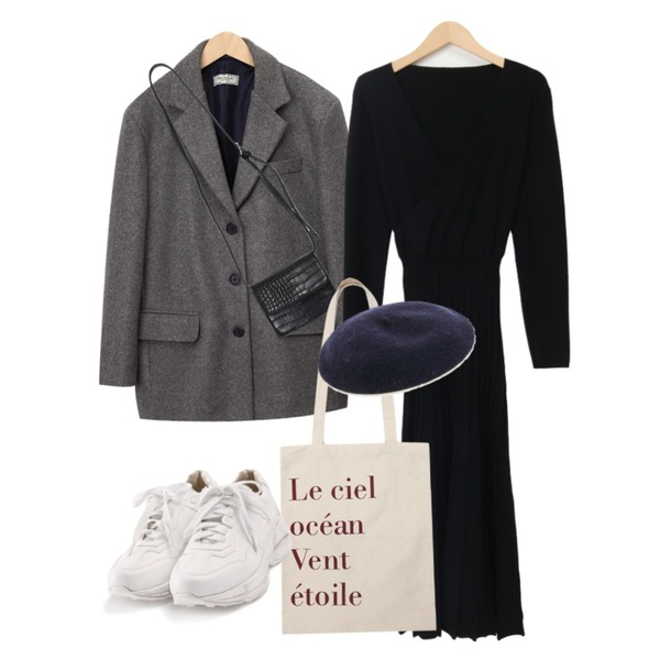 From Beginning Last tailored wool jacket (울 10%) (size : free),From Beginning Perfume knit long ops_Y (size : free),From Beginning Kitten mini cross bag_C (size : one)등을 매치한 코디