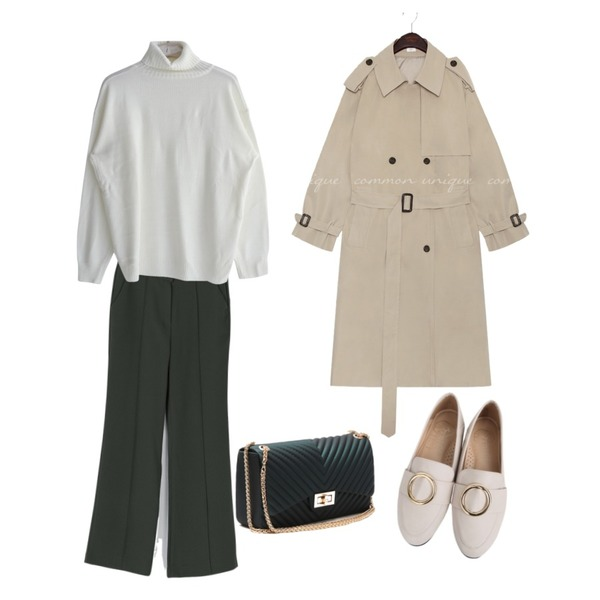 BANHARU classic mood maxi slacks,BULLANG GIRL 반디무광링로퍼,common unique WALNUT DOUBLE TRENCH COAT등을 매치한 코디