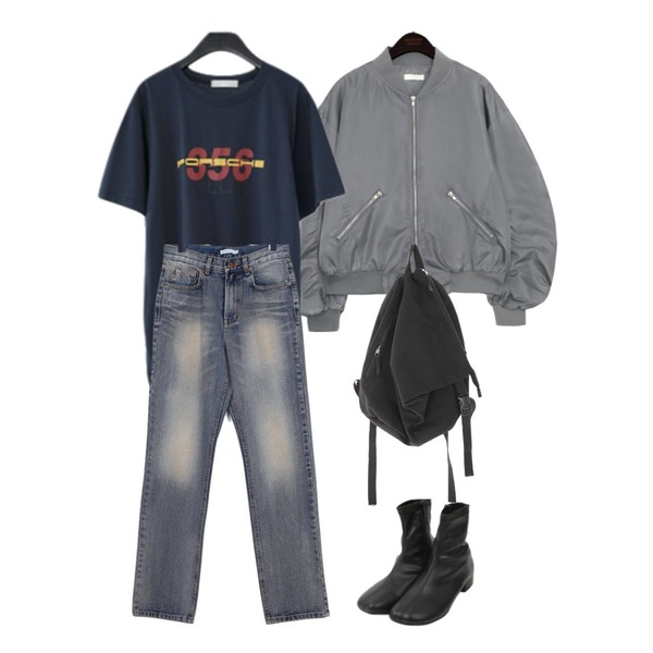 AFTERMONDAY numbering cotton T-shirt (4colors),moaol cowboy washing jeans,common unique JERRIS SHIRRING BOMBER JUMPER등을 매치한 코디