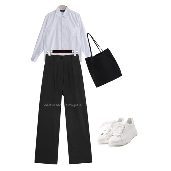 ROCOSIX wide ribbon shoes,From Beginning Ample solid eco bag_B (size : one),GIRLS RULE 케쥬얼 카라 셔츠 (nb0046)등을 매치한 코디