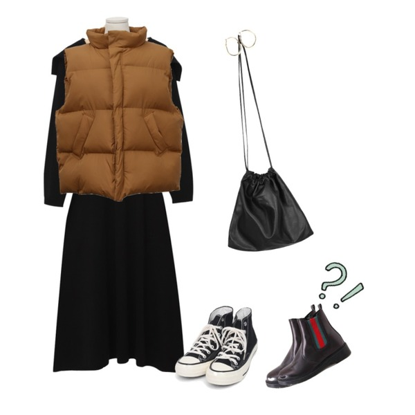 From Beginning Volume light wellon vest_K (size : free),From Beginning Teens sailor collar ops (size : free),AIN colouring high canvas sneakers (225-250)등을 매치한 코디