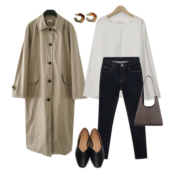 AFTERMONDAY classy mood single trench coat (2colors),From Beginning Soda round-neck blouse_J (size : free),MIXXMIX 다크초콜릿 생지 팬츠등을 매치한 코디
