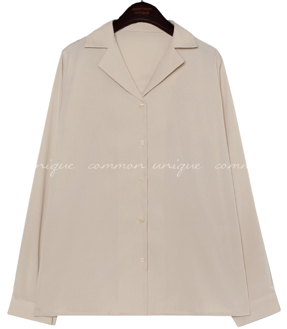 Notched Collar Button-Up Blouse