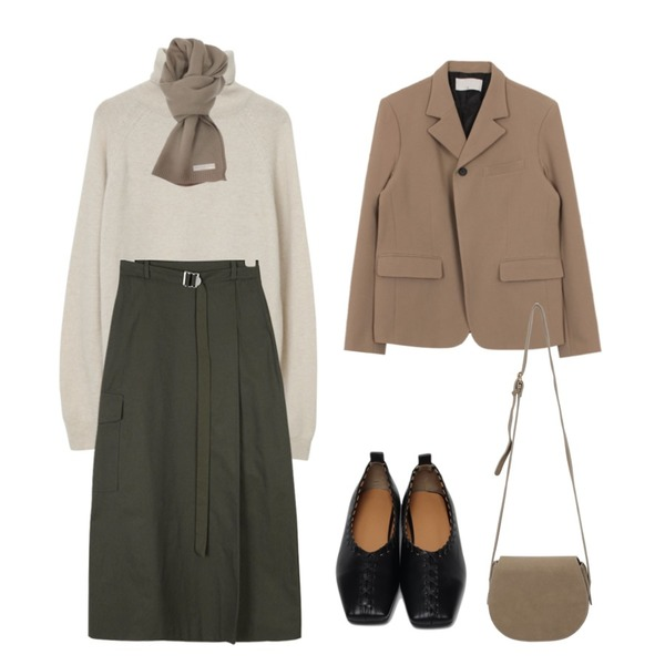 AIN elf pocket long skirts,From Beginning Stove pola wool knit_C (울 60%, 캐시미어 5%) (size : free),biznshoe One button jacket (3colors)등을 매치한 코디