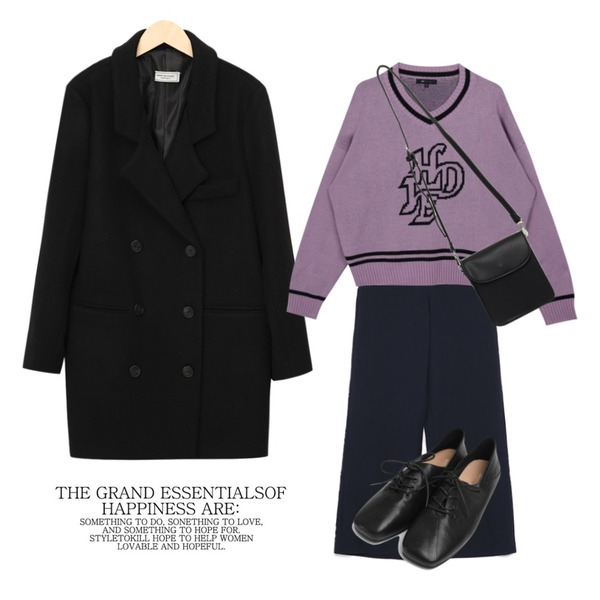 From Beginning Tis double wool coat (울 50%) (size : free),MIXXMIX HIDE Future V-neck Knit (Light Purple),AIN unique pintuck wide slacks (s, m)등을 매치한 코디