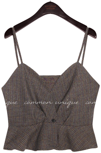 RATEL WOOL CHECK SET-UP BUSTIER 無袖