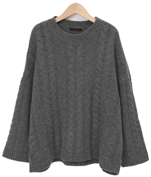 Cable lambs wool knit_C (램스울 80%) (size : free)