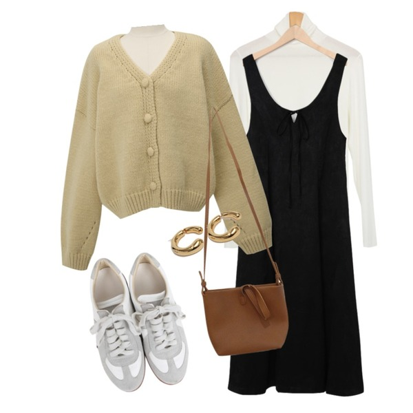From Beginning Olive ribbon satin ops_C (size : free),From Beginning Bubble wool button cardigan_Y (size : free),AWAB 린즈루즈폴라티등을 매치한 코디