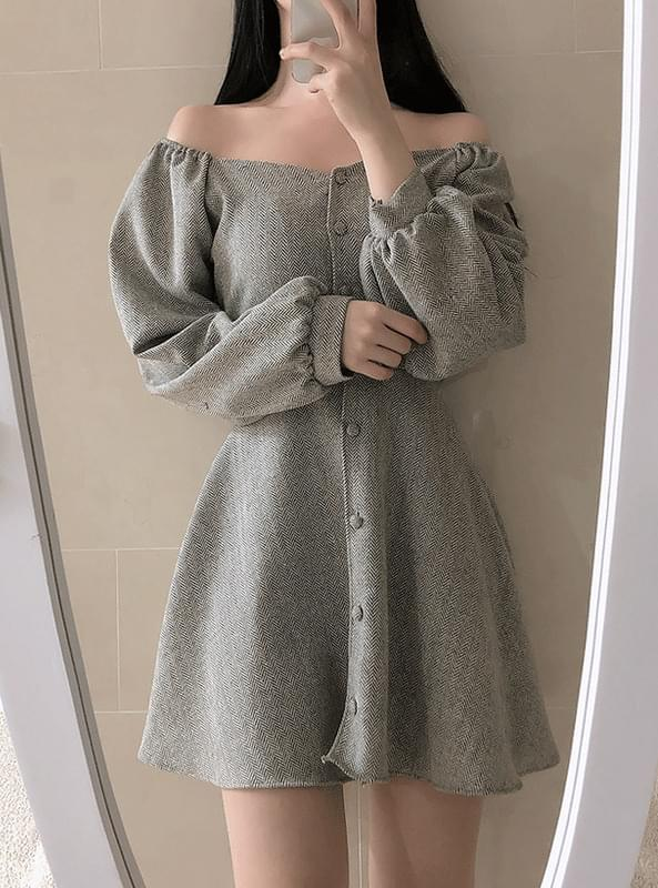Herringbone Button Shoulder Dress