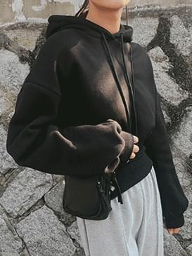 Brushed cropped hooded man