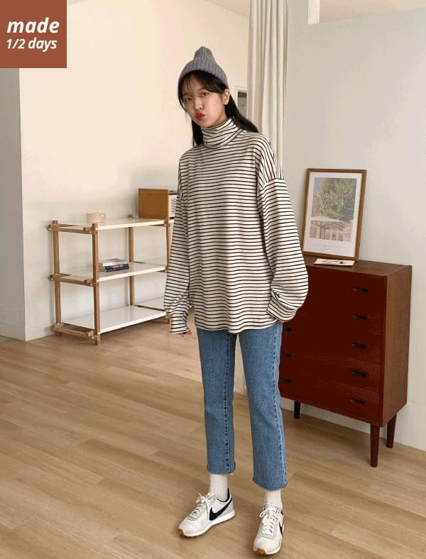 Brushed stripe turtleneck 1/2 day knit # 619