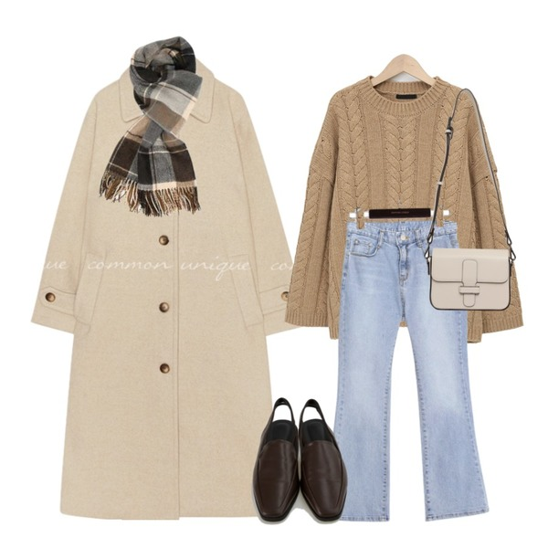 common unique VOEL SEMI BOOTS CUT DENIM PANTS,From Beginning Cable lambs wool knit_C (램스울 80%) (size : free),common unique PEGGY WOOL 50% LONG MAC COAT등을 매치한 코디