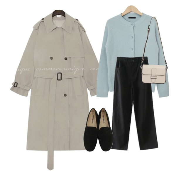 AFTERMONDAY wearable basic cotton pants (3colors),common unique WALNUT DOUBLE TRENCH COAT,From Beginning Minty angora cardigan_J (램스울 60%, 앙고라 20%) (size : free)등을 매치한 코디