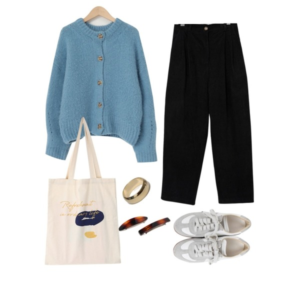 From Beginning Record corduroy pin-tuck pants_E (size : free),From Beginning Bliss wool knit cardigan_U (울 50%) (size : free),From Beginning Flim hair pin set_U (size : one)등을 매치한 코디