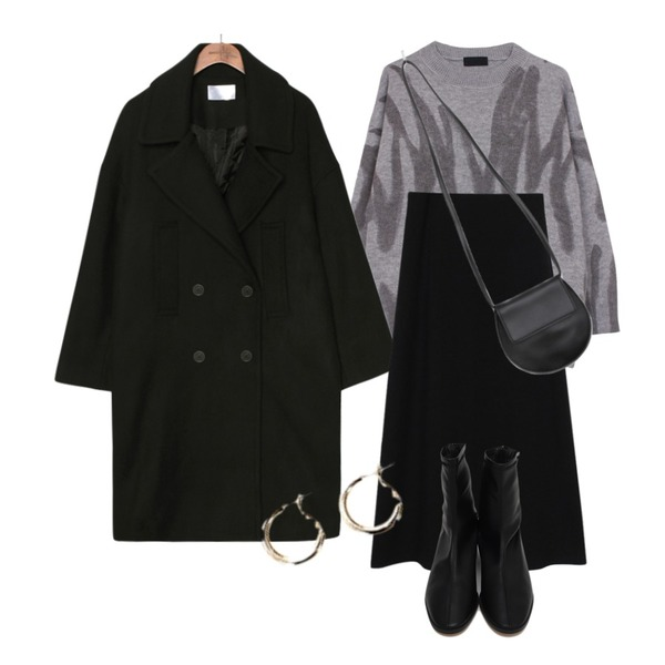 biznshoe Knit long skirt (Black),common unique CHILLY DOUBLE COAT,biznshoe Painting knit (2colors)등을 매치한 코디