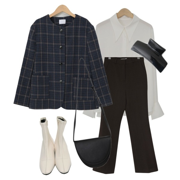 From Beginning Leyden wool round jacket_A (울 70%) (size : free),From Beginning Crum warm loose slacks_A (size : S,M),From Beginning Collen sharp collar blouse_A (size : free)등을 매치한 코디