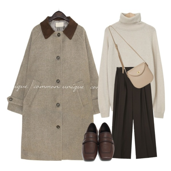 AIN chic mood pintuck slacks (s, m, l),From Beginning Stove pola wool knit_C (울 60%, 캐시미어 5%) (size : free),common unique [OUTER] FOREN CORDUROY COLLAR LONG COAT등을 매치한 코디
