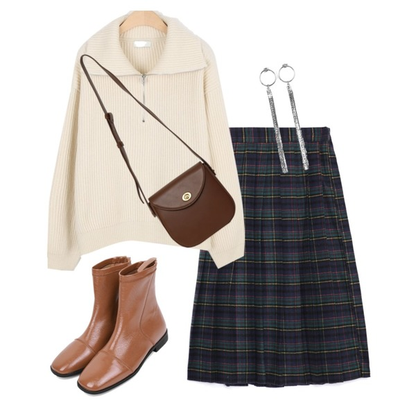 From Beginning Clack round cross bag_C (size : one),MOREDAY 울 하프 집업 니트 (3colors),openthedoor pleats check midi skirt (2 color) - woman등을 매치한 코디