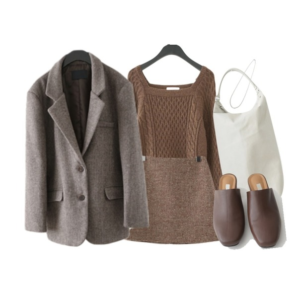 AFTERMONDAY over-fit herringbone wool jacket (2colors),AFTERMONDAY square-neck cable knit (3colors),AFTERMONDAY wool plaid set - skirt (2colors)등을 매치한 코디