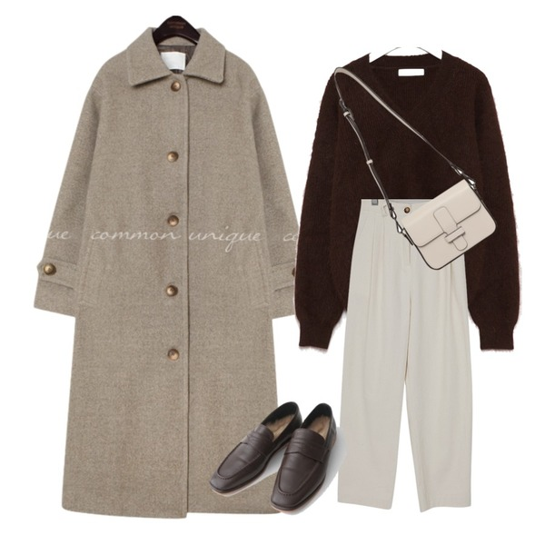 common unique PEGGY WOOL 50% LONG MAC COAT,From Beginning Record corduroy pin-tuck pants_E (size : free),AIN allow angora v-neck knit등을 매치한 코디