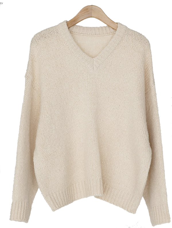 Daily Pastel V Neck Knit-knit