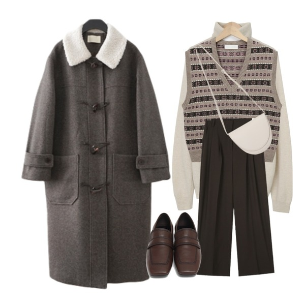 AIN chic mood pintuck slacks (s, m, l),From Beginning Stove pola wool knit_C (울 60%, 캐시미어 5%) (size : free),From Beginning Second round shape bag_C (size : one)등을 매치한 코디