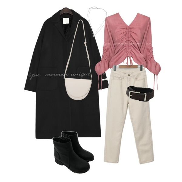 From Beginning Lie semi boots-cut pants_C (size : S,M,L),common unique BRISE V NECK SHIRRING BLOUSE,From Beginning Coin layered necklace_K (size : one)등을 매치한 코디