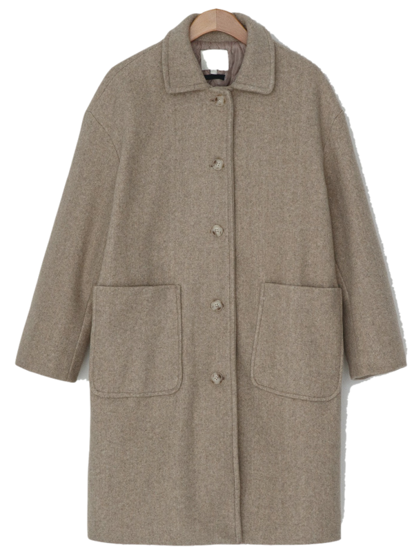 Big pocket quilted lining wool coat-ct