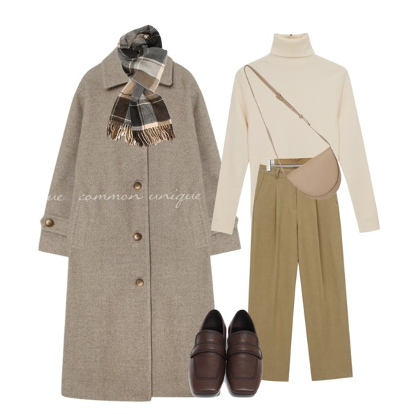 AIN roco modern check muffler,common unique PEGGY WOOL 50% LONG MAC COAT,From Beginning Second round shape bag_C (size : one)등을 매치한 코디