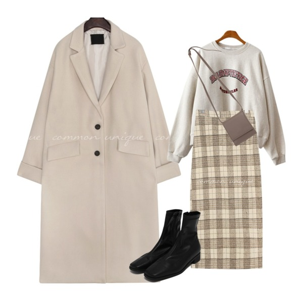 From Beginning Rule stitch ankle boots_C (size : 225,230,235,240,245,250),common unique PARAS NAPPING CHECK SLIT LONG SKIRT,From Beginning Let simple cross bag_U (size : one)등을 매치한 코디