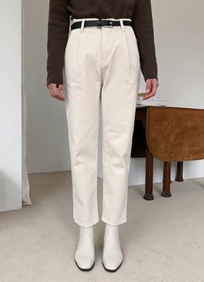 Pintuck brushed cream pants