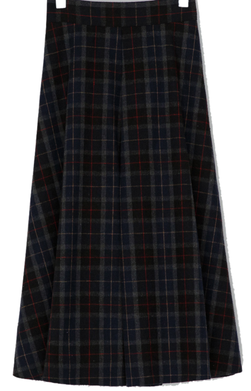 Vintage check flared long skirt-sk