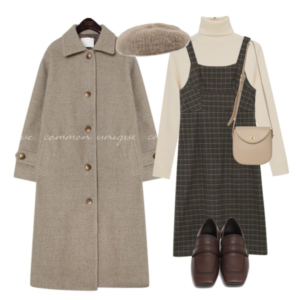 peachpicnic 앙고라 베레모,common unique PEGGY WOOL 50% LONG MAC COAT,From Beginning Marco stitch flat loafer_J (size : 225,230,235,240,245,250)등을 매치한 코디